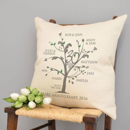 Personalised Pearl Anniversary Family Tree Cushion